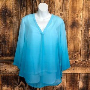 Liz Claiborne Blue Ombré Sheer Blouse W/Cami - M